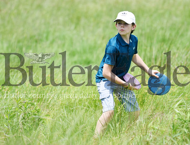 Harold Aughton/Butler Eagle: William Hendrix, 12, of Butler joined his father, Lindsay, and friend Max Mayo, 13, for a game of Frisbee golf at Harcrest Community Park, Wednesday, June 3, 2020.