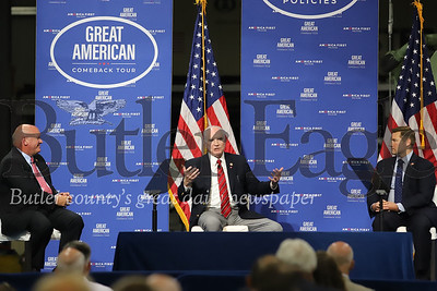Rep. Glenn Thompson, Rep. Mike Kelly and Rep. Guy Reschenthaler take part in a panel discussion prior to a speech by Vice President Mike Pence at Oberg facilities in Sarver Friday. Seb Foltz/Butler Eagle 06/12/20