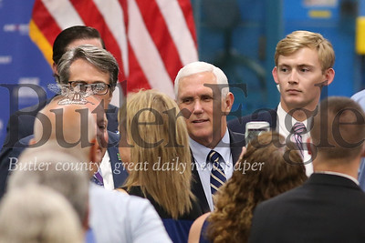 Vice President Mike Pence greets Oberg employees and guests after his speech at Oberg's facility in Sarver Friday. Seb Foltz/Butler Eagle 06/12/20