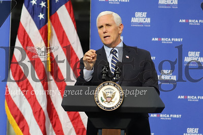 Vice President Mike Pence speaks at Oberg facilities in Sarver Friday. Seb Foltz/Butler Eagle 06/12/20