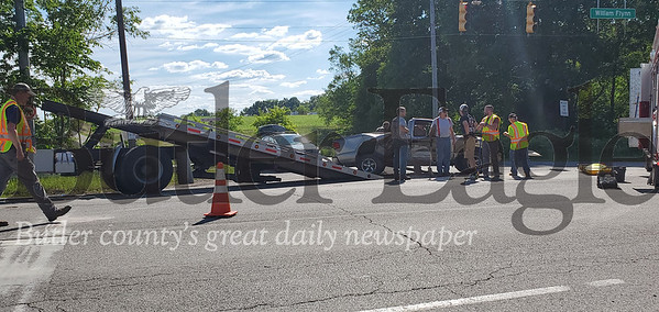 An accident on Route 8 sent two riders of a motorcycle to the hospital after they collided with the side of a truck. Nathan Bottiger/Butler Eagle photo 4