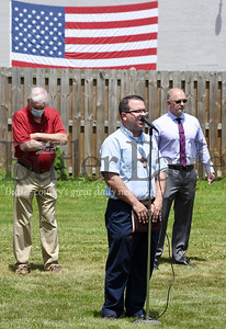 Harold Aughton/Butler Eagle: Tom Parkinson, pastor of the Dutilh United Methodist Church in Cranberry leads those gathered in prayer in Mars, Wednesday, June 17, 2020.