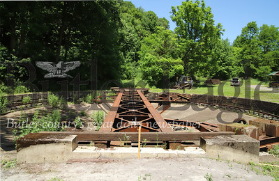 FOR FUTURE USE:  Armstrong Trail railroad turntable project in East Brady. Trail crews and trail staff are working to recreate old train track routing system as historical site. (BEFORE PICTURE)  Seb Foltz/Butler Eagle 06/17/20