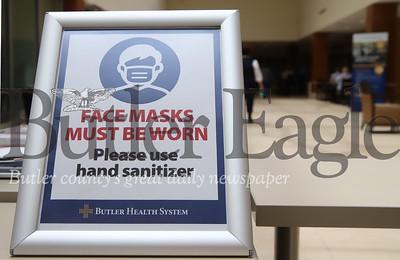 Butler Memorial Hospital caution sign. Seb Foltz/Butler Eagle