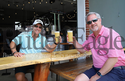 Mars local Guy Shirey and his brother Glen Shirey toast to the reopening of Stick City Brewing Co. Seb Foltz