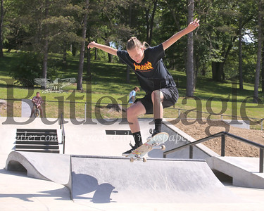Joe Conklin, 21, of Evans City airs off a jump at the Zelienople Memorial Skate Park last week. (Tues. June 16 2020)   Seb Foltz/Butler Eagle