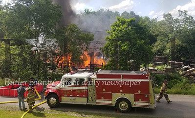 Jim Smith photoFire at Clay Township lumber business. fire truck