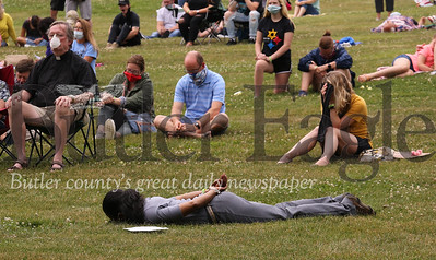 Western Pennsylvania United Methodist Church Pittsburgh District Superintendent, Reverend Dawn hand lays down with her hands behind her back during the 8 minute and 46 second moment of silence observed in honor of George Floyd and the Black Lives Matter movement during Saturday's Come Together event in Cranberry Community Park. Seb Foltz/Butler Eagle