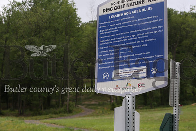 Dog rules at trailhead at Cranberry's North Boundary Park