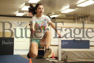 Butler freshman Megan Vaggetta practices triple jump indoors at Butler Area High School. Seb Foltz/Butler Eagle