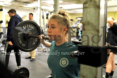 Butler sophomore javelin thrower Kaylin Homa squat lifts during a workout for indoor track. Seb Foltz/Butler Eagle 02/11/20