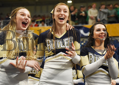 Harold Aughton/Butler Eagle: Butler cheerleaders react to the boys basketball teams first WPIAL win in 29 years at the Petersen Event Center, Saturday, Feb. 29, 2020.