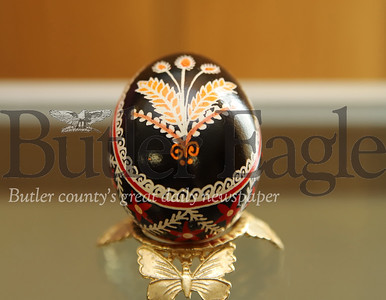One of the Saints Peter and Paul Ukrainian Orthodox Church's collection of Pasaky eggs with a design featuring a wheeping willow branch. The wheeping willos iis an important symbol of the church used in place of palm leaves during Palm Sunday ceremonies. Seb Foltz/Butler Eagle