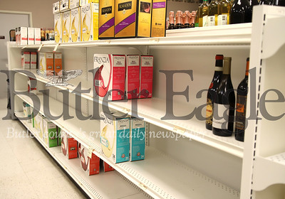 Empty shelves at Fine Wine & Spirits on 228 in Seven Fields. Seb Foltz/Butler Eagle