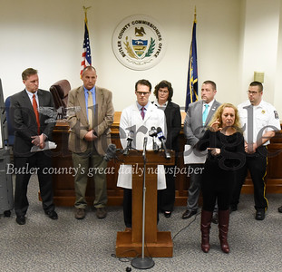 Harold Aughton/Butler Eagle: Dr. David M. Rottinghaus, an emergency medicine physician, at the Butler Health System discusses testing of the coronavirus during a press conference held by the Butler County Commissioners Wednesday morning, March 18, 2020.