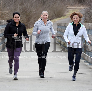 Harold Aughton/Butler Eagle: Harold Aughton/Butler Eagle: From left: Butler Memorial Hospital nurses from left:  Dixie Perrine, Crystal Wonderling, and Val Andreassi are training to run the Pittsburgh Marathon scheduled for May 2. They are running to raise funds and awareness for the American Foundation for Suicide Prevention.