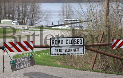 Access road blocked off at Moraine State Park's marina and boat rental at Cresent Bay on the North Shore during the COVID-19 outbreak. Photo Saturday 4/18/20  Seb Foltz/Butler Eagle