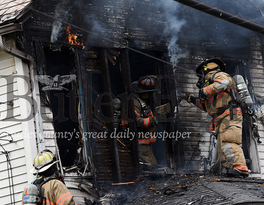 Harold Aughton/Butler Eagle: Butler City firefighters were called to the scene of a house fire around 1:30 pm at the intersection of Fairview and Glenn Avenues in Butler, Saturday, May 2, 2020.