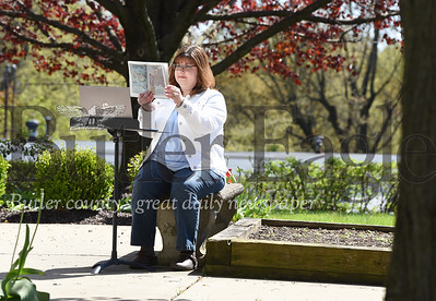 Harold Aughton/Butler Eagle: Molly Raraigh, children's' ministry director at Saxonburg Memorial Presbyterian Church, prepares a video reading of The Story of Johan to be uploaded to church's Facebook page and YouTube Channel.