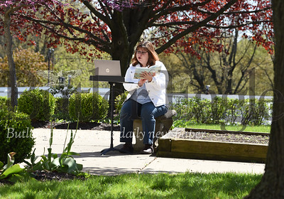Harold Aughton/Butler Eagle: Molly Raraigh, children's' ministry director at Saxonburg Memorial Presbyterian Church, prepares a video reading of The Story of Jonah to be upload to church's Facebook page and YouTube Channel.