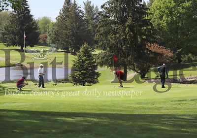 Golfers enjoy sunny skies and an early kick-off to Memorial Day Weekend Thursday at Conley Resort & Golf Thursday on Route 8 south of Butler. Seb Foltz/Butler Eagle