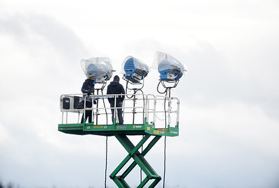 Lighting crews were busy setting up the stage lights at the Pittsburgh-Butler Regional Airport in preparation for President Trump's visit Friday, Ocotober 30, 2020. Harold Aughton/Butler Eagle