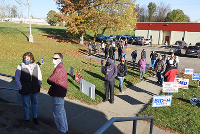 Long lines formed at the Middlesex Twp and firehall buildings Tuesday morning, Nov. 3, 2020. Harold Aughton/Butler Eagle.