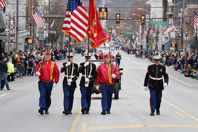 Harold Aughton/Butler Eagle: Members of the Marine Corps League Color Guard take the lead in the Butler Veterans Day Parade, Mon., Nov. 11.