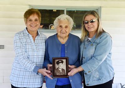 Gloria Hoffman, left, Susan Herman, 96, and Joni Horner  Harold Aughton/Butler Eagle