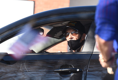 Vietnam veteran Jeffrey Smith of Butler was one of eight veterans that took part in the drive-through celebration at the His Kids Christian School in Summit Twp. Tuesday, November 10, 2020. Harold Aughton/Butler Eagle