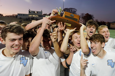 Seneca Valley boys celebrate their 4-3 double overtime win over Peter's Township in Saturday's WPIAL Championship  at North Allegheny. Seb Foltz/Butler Eagle 11/07/20
