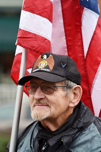 Airforce veteran Andrew Chaff of West Sunbury stands at attention during the Veterans Day memorial service held in Diamond Park Wednesday, November 11, 2020. Harold Aughton/Butler Eagle.