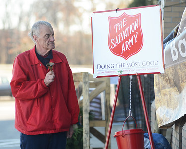 88270 Salvation Army bell ringers collecting money at Rural King in Clearview Mall