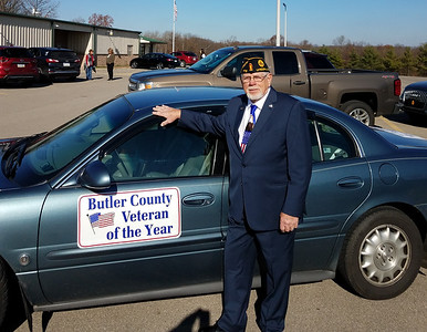 Butler County's 2021 Veteran of the Year LeRoy Bunyan of Renfrew showed off the sign on his car before Saturday's Veteran of the Year luncheon at American Legion Post 778 in Lyndora. ERIC FREEHLING/BUTLER EAGLE