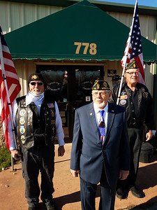 From left, American Legion members Mike Shook, 2020 Veteran of the Year LeRoy Bunyan and past Veteran of the Year Al Worsley met outside American Legion Hall 778 Saturday morning before the luncheon honoring Bunyan's election. ERIC FREEHLING/BUTLER EAGLE