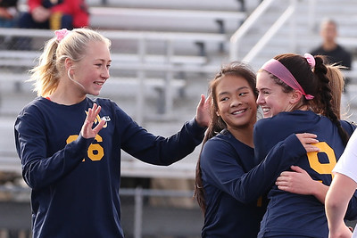 Mars' Ava Lewis (left), Erin Rodgers and Caroline Wroblewski celebrate a goal with Gracie Dunaway (not pictured) in Saturday's PIAA playoff at Mars. Mars topped Warren 8-0. Seb Foltz/Butler Eagle 11/14/20
