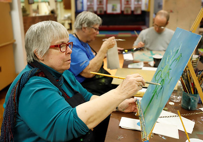 Cathy Tack of Butler participates in a session of the Butler Art Center's Paint Like You class Friday. The center regularly hosts a number of art workshops open to the public. Seb Foltz/Butler Eagle 11/13/20