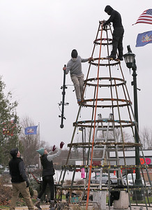 Slippery Rock University student Amanda Herr hands Efrain Santiago the top of the town of Slippery Rock's new artificial Christmas tree in Slippery Rock Memorial Park Tuesday. The tree was brought to Slippery Rock from Florida through efforts by Slippery Rock University professor Dr. Mary Jo Ross and the school's  hospitality and event mangement progam. Seb Foltz/Butler Eagle 11/17/20