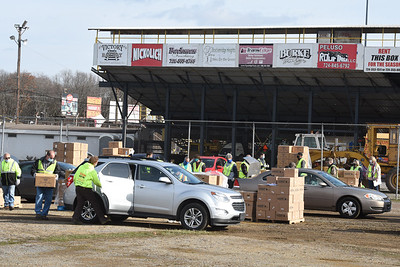 The Pittsburgh Food Bank distributed more than 600 boxes of food at the Lernerville Speedway Tuesday morning November 24, 2020. Harold Aughton/Butler Eagle.