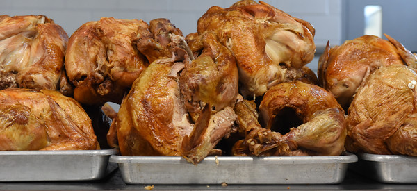 Volunteers at St. Michael's church roasted 80 turkeys to feed about 1,500 people Wednesday, November 25, 2020. Harold Aughton/Butler Eagle.