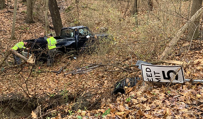 Nobody was injured in a single-car accident on Farker Road in Jackson Township on Wednesday morning. Eagle staff photo.