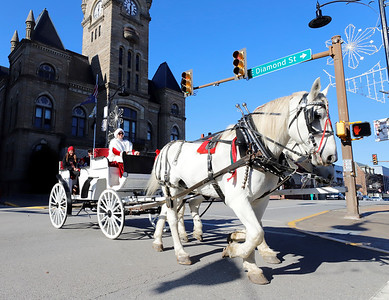 Mindy Stoops of Misty Lane Performance Horses drives a horse-drawn carriage back into Diamond Park as part of Butler Downtown's Small Business Saturday. Seb Foltz/Butler Eagle 11/28/20