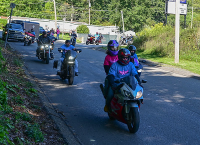 Riders head out on the road for Ride for a Cure at the  Family Bowlaway in Butler on Saturday September 19,2020 (Jason Swanson photo)