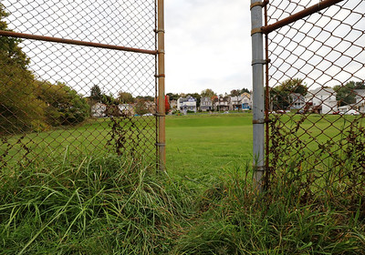 View through the old baseball backstop at what used to be Southside Playground near Father Marinaro Park. Seb Foltz/Butler Eagle 10/06/20