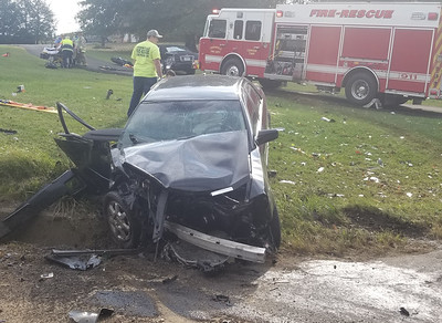 Two medical helicopters have been called to the scene of a two-vehicle crash at Route 308 and Jamisonville Road in Center Township, authorities said. Three people were reported injured in the wreck shortly before 10 a.m. the extent of the injuries was not immediately known, but two people are being flown to hospitals. The vehicles involved in the accident were a Cadillac CTS and a Cadillac Deville. State police said the crash happened when one of the drivers, a Slippery Rock woman in her early-30s, ran a stop sign. They also suspect she may have been under the influence of drugs.Photos by Jim Smith