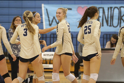 Butler volleyball player Taylor Welter, center.