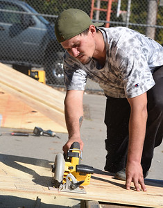 Tim Gilliland of Butler joined friends Andrew Parker, Rob Parker and Josh Bobby and others to update the Pyamid corner skate ramp at Father Marinaro Park Friday, October 9, 2020.