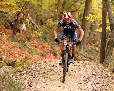 James Litzinger competes in the men's singlespeed class during Sunday's Month of Mud mountain bike race at Alemeda Park. Seb Foltz/Butler Eagle 10/11/20