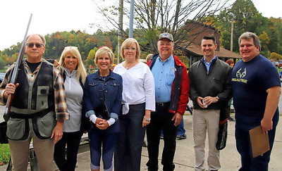 Butler PM Rotary members from left to right: Rick McDeavitt, Sue Edwards, Jocelyn Shetter, Leslie Osche, Dennis Baglier, Tom Edwards and Paul Simms at Saturday's Robin's Home fundraiser. Seb Foltz/Butler Eagle
