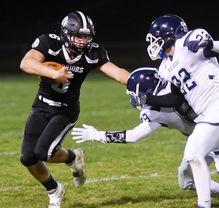 Moniteau's JD Dessicino is stopped short of the first down in the second quarter. Harold Aughton/Butler Eagle